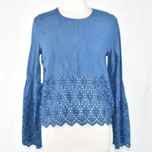 Blue Chambray Eyelet Top with Bell Tie Sleeves